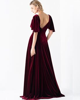Brautmutterkleid Lange Samt Rückenfreies Abendkleider Empire Burgunderrot Partykleider Modest