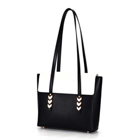 Black And White Cute Fold Over Satchel Leather Shoulder Bag Womens Handbag Fashion