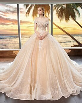 Glitzernden Champagner Prinzessin Applikationen Spitzen Hochzeitskleider Pailletten Off Shoulder Rückenfreies