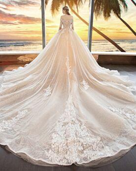 Vestiti Da Sposa Pizzo Con Scollo A Barca In Tulle Schiena Scoperta Maniche Corte Con Applicazioni Champagne