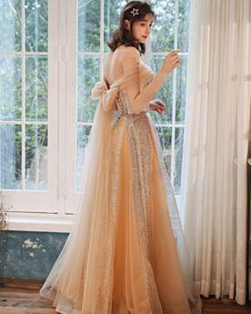 Abiti Da Sera Schiena Scoperta Lungo Abiti Per 18 Anni Glitter A Fascia Tulle Vestiti Da Cerimonia Champagne Con Fiocco