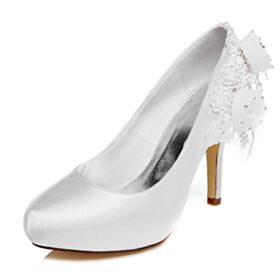 Appliques 4 inch High Heel Pumps Bridals Wedding Shoes Pointed Toe White Stiletto Beautiful
