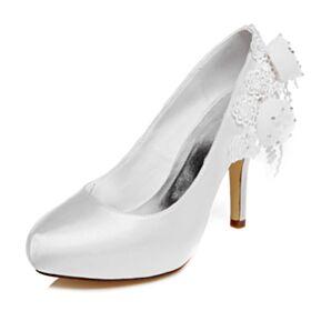 Blanche Appliques Talons Hauts Satin Chaussure Mariée Escarpins Femmes Talons Aiguilles