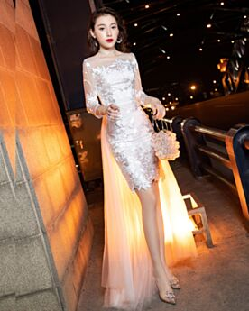 Reception Lace White Backless Simple Tulle Long Sleeve Short Cute