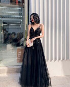 Lace Plunge Evening Dresses Princess Long Black Sleeveless Beautiful Appliques