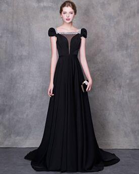 A Linie Gürtel Transparentes Elegante Mit Schleppe Ballkleid Abendkleider Chiffon Tiefer Ausschnitt Schwarz Perlen
