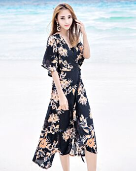Chiffon Black Long Beachwear 2018 Summer Side Slit Bohemian Wrap Dress