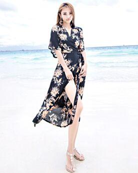 Portafoglio Bohemien Con Cintura Beachwear Con Spacco Neri Lunghi Vestiti Stampato Casual