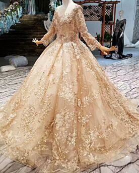 2019 Elegant Gorgeous Long Sleeved Lace Open Back Bridal Gown Ball Gowns Long