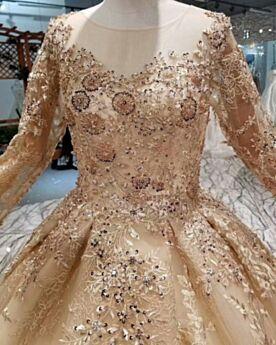 Girocollo Trasparenti Principessa Maniche Lunghe Con Applicazioni Bellissimi Eleganti Schiena Scoperta Vestiti Da Sposa