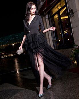 Cocktail Dress Slit Ruffle Beautiful Shirt Ankle Long Low Cut