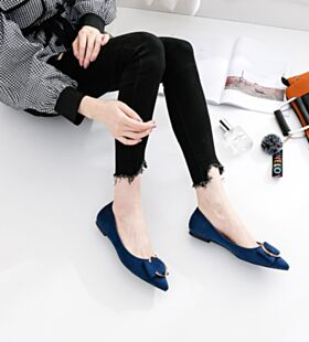 Suede Pointed Toe Ballet Shoes Navy Blue Flats With Bowknot