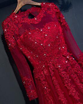 A ライン エレガント 長袖 イブニングドレス ワインレッド 結婚式 母親 ドレス パーティー ドレス ビーズ 結婚 式 参列 ドレス チュール レース 63720190411
