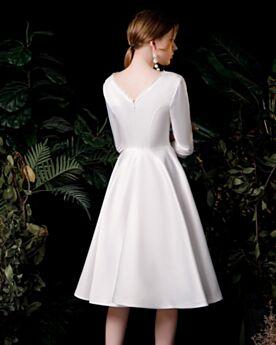 Rückenausschnitt Weiss Fit N Flare Knielang Satin V Ausschnitt Brautkleid Schlichte Standesamt