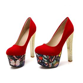 Pumps 2018 Over 5 inch Round Toe Printed Platform Red Soles Stilettos Red Faux Leather Prom Shoes Suede