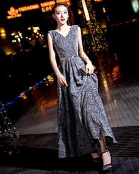 イブニングドレス ジュニア キラキラ 同窓会 ドレス v ネック グレー グリッター 64420181206