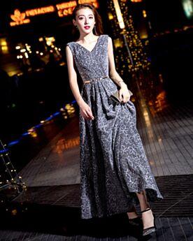 Robe Bal De Promo Évasée Brillante Glitter Empire Grise Robe De Ceremonie Longue
