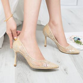 Pumps Stilettos 3 inch High Heel Wedding Shoes Pointed Toe Elegant Lace