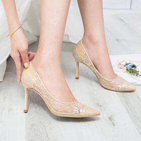 Zapatos Para Novia Con Encaje Tacon Alto 8 cm Elegantes Stiletto Zapatos Con Tacon