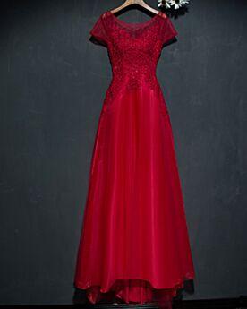 Kanten Rode Open Rug Korte Mouw Bruidsmeiden Jurken Jurken Voor Bruiloft Elegante Lange Fit et Flare Avondjurken