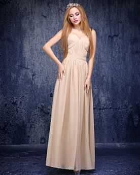 2019 Long Evening Dress Wedding Guest Dress Bridesmaid Dresses Beige Strapless Simple Chiffon Homecoming Dresses Elegant Sweetheart