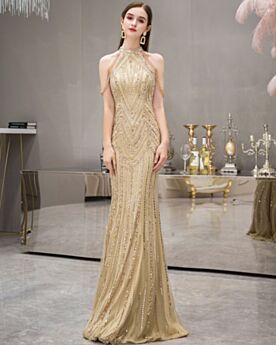 Evening Dresses Sparkly Long Elegant Tulle Sequin Sleeveless Halter Sheath