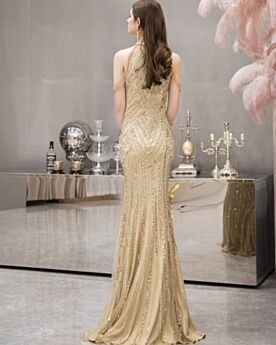 2020 Lange Pailletten Met Franjes Halter Nieuwjaar Jurk Luxe Strakke Kristal Gouden Avondjurken Sparkle Elegante