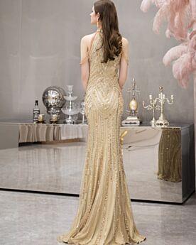 Pailletten Galakleider Etui Lange Mit Fransen Neckholder Gold Elegante Abendkleid Glitzernden