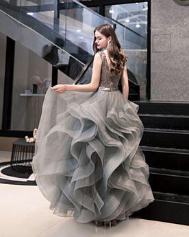 Espalda Descubierta Vintage Con Tul Escote V Pronunciado Vestidos De Coctel Grises Largos Bonitos