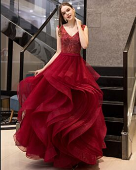 Cocktail Dress Vintage Fit And Flare Tulle Beautiful Sleeveless Prom Dress Plunge