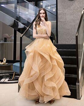 Largos Vestidos De Prom Espalda Descubierta 2020 Escotados Dorados Vintage Bonitos Vestidos Para Fiesta