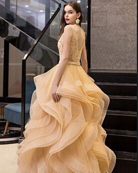 Chic Senza Maniche Lunghi Vestiti Prom Tulle Oro Abito Da Cocktail Scollo Profondo Vintage Vestiti Da Cerimonia