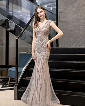 Sparkly Evening Dresses Mermaid Beautiful Open Back Beige Crystal