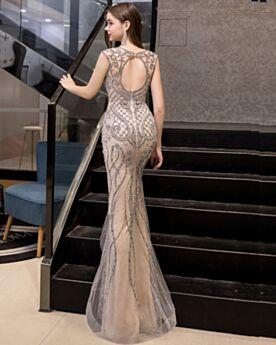 Brillante Longue Belle Robes De Soirée Beige Sirène Robe De Ceremonie Dos Nu