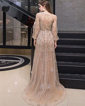 Beautiful Long Sleeved Party Gowns Long Rhinestones See Through Beading A Line Sweet 16 Dress