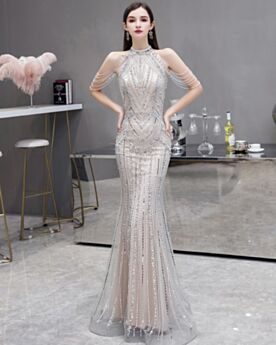 Strakke Met Kristal Luxe Sparkle Feestjurken Halter Pailletten Met Franjes Mouwloze Elegante Lange Avondjurken Zilveren