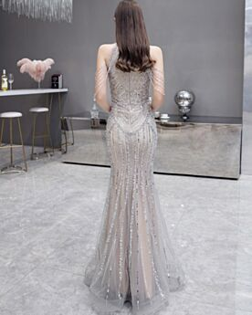 Sequin Fringe Sheath Sparkly Long Formal Evening Dress Elegant Silver Luxury Sleeveless