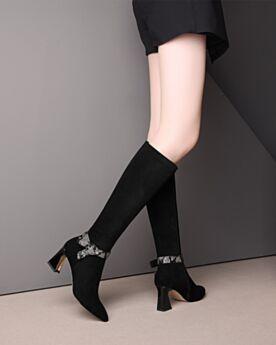 Blokhakken Gevoerde Knie Hoge Laarzen Zwart Suede Leren Hoge Laarzen Runtige Neus 7 cm Heel