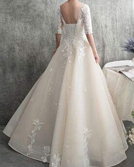 Backless Lace Wedding Dresses Elegant Tulle Ball Gown Long