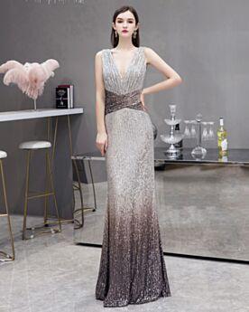 Color Plata Gradiente Vestidos De Noche Vestidos De Prom Largos Escotados Brillantes