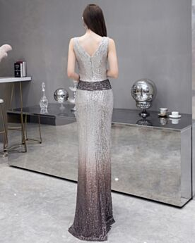 Sparkly Prom Dress Plunge Evening Dresses Long Ombre Sheath Sequin