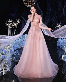 Sequin Robe De Bal Rose Poudré Perlage Robe Habillée Luxe Longue Chic Sans Manches Scintillante