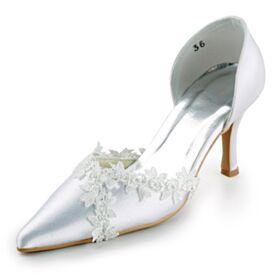 Stilettos De Punta Fina Tacones Altos Blancos Sandalias Zapatos Novia Elegantes