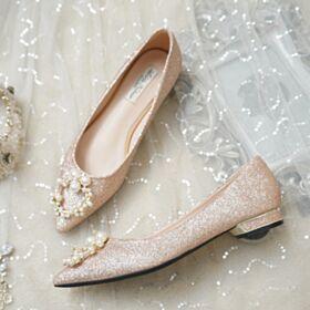 Décolleté Scarpe Da Sposa Con Perle Comode A Punta Champagne Luccicante Glitter