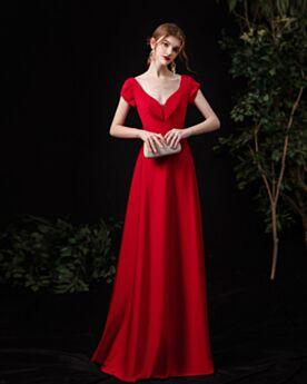Open Rug Rode Simpele Jurken Voor Bruiloft Gast Lange Empire Bruidsmeisjes Jurk Elegante Satijnen