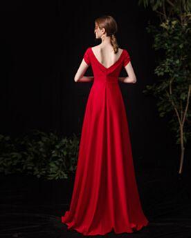 Princesse Robe Pour Mariage Élégant Robe D'honneur Rouge Empire Longue