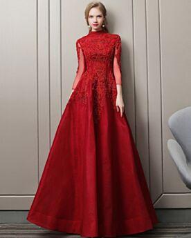 Burgunderrot Applikationen Tüll Ballkleider A Linie Modest Verlobungskleid Perlen Spitzen Abendkleider Lange Ärmel Elegante Rückenfreies Luxus