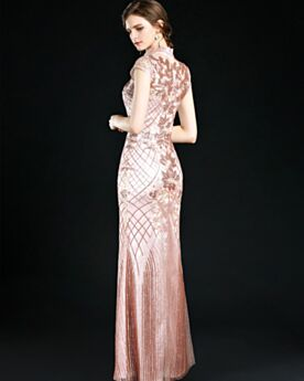 Occasion Gowns Embroidered Long Evening Dress Lace Mother Of Bridal Dress High Neck Glitter Princess Coral Beautiful Prom Dresses
