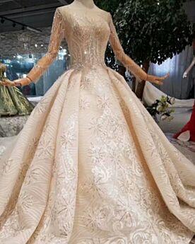Brautkleider Lange Ärmel Glitzernden Rückenausschnitt Prinzessin Pailletten Champagner Spitzen Lange Stickerei