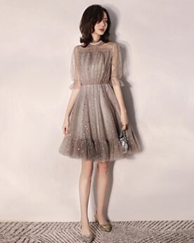 Sequin High Neck Sparkly Gray Bohemian Cocktail Dresses Half Sleeve